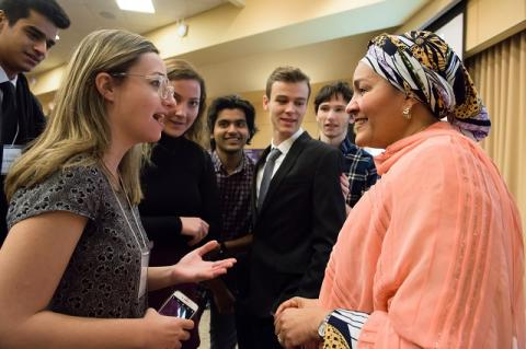Tufts students speak with Amina J. Mohammed, Deputy Secretary General of the United Nations. Mohammed was awarded the Dr. Jean Mayer Global Citizenship by IGL at the 2018 EPIIC Symposium.