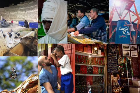 A collage of photos from locations around the world, taken by Tufts students