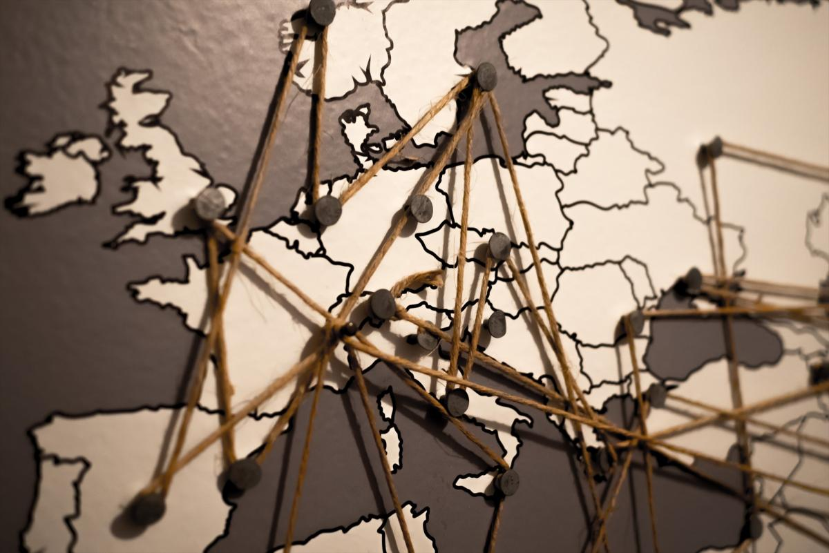 Map focused on Europe connected by pins