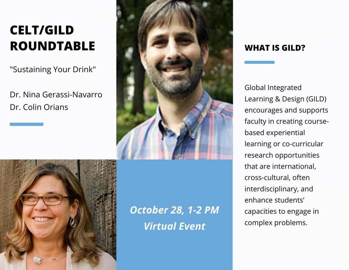 Flyer for CELT roundtable event, showing professors Nina Gerassi-Navarro and Colin Orians