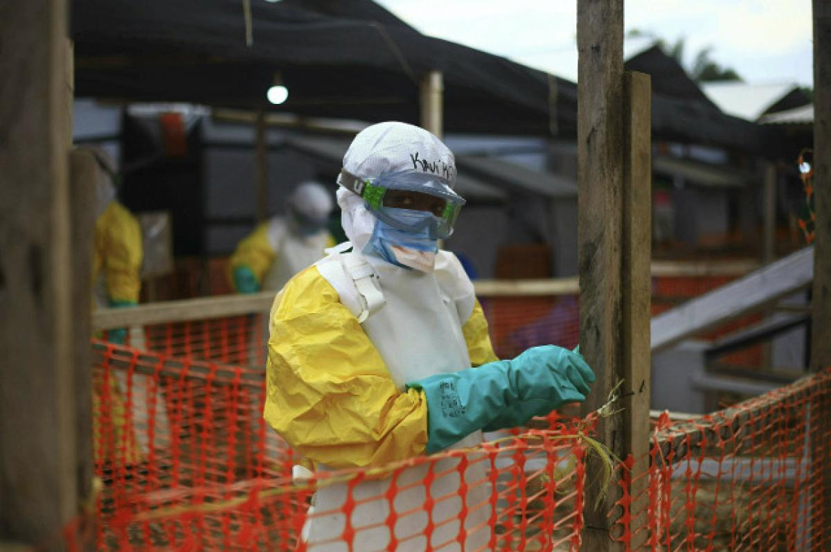 A Ebola health worker in full hazardous matter gear at a treatment center in Beni in eastern Congo, where Ebola treatments are being offered.